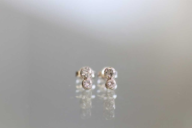 14k Double Diamond Stud Earrings